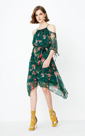Only 2019 Lace-up Floral Chiffon Dress |118107591