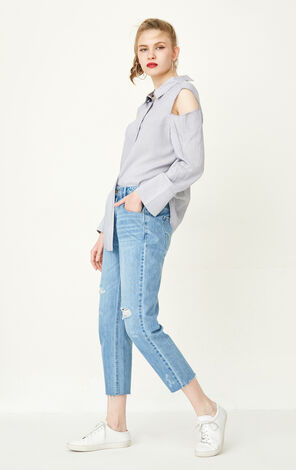 ONLY Summer New Women's Frayed Raw-edge Smiling Face Pattern Jeans|117249514