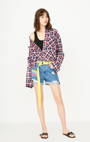 ONLY Women's Summer Printed Frayed Roll-up Denim Shorts |117243510