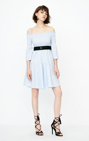 ONLY Gathered Off-the-shoulder Flare Sleeves Dress|118207576