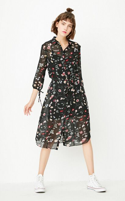 ONLY summer new style three-quarter sleeve two-piece floral dress female | 117331540, Black, large