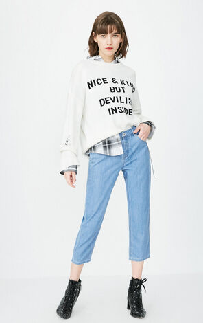 ONLY2019 women's summer new low waist cropped straight BF jeans | 11816I505
