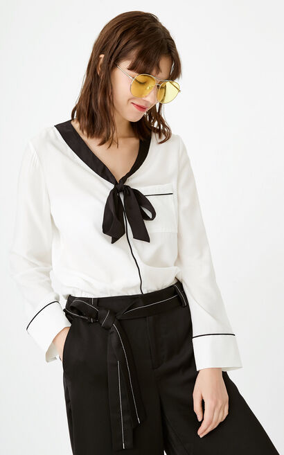 ONLY autumn new letter embroidery series loose shirt women | 117351504, White, large