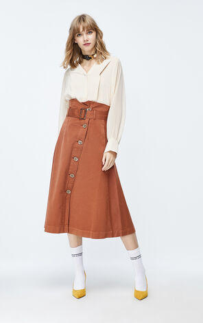 ONLY 2019 AutumnHigh-rise A-lined Denim Skirt|119337515
