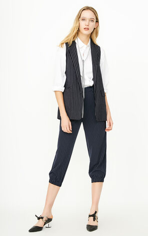 ONLY2019 Women's Winter Loose Fit Striped Suit Vest |1181B1502