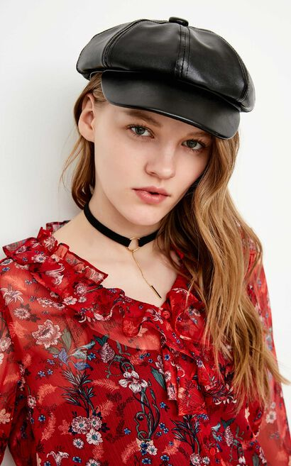 ONLY2019 women's summer new lace ruffled floral chiffon shirt | 118105533, Red, large