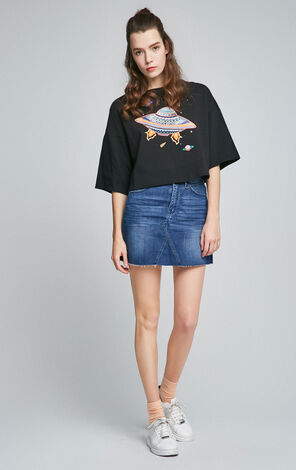 ONLY2019 Spring New Loose Fit A-lined Denim Skirt|117137504