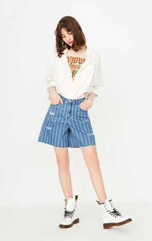 ONLY Summer Women's Summer Loose Fit Striped Frayed Raw-edge Denim Shorts 117243525