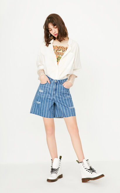 ONLY Summer Women's Summer Loose Fit Striped Frayed Raw-edge Denim Shorts|117243525, Blue, large