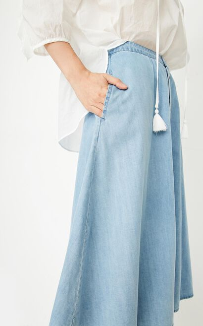ONLY summer new single-breasted long denim skirt women | 117337524, Blue, large