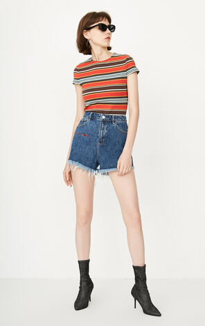 ONLY Women's Summer Embroidered Raw-edge High-rise Denim Shorts|118243541