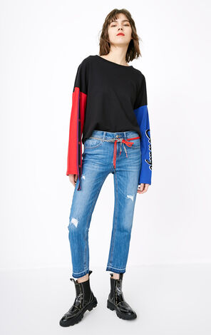 ONLY2019 women's summer new multi-color cropped straight jeans | 118149660