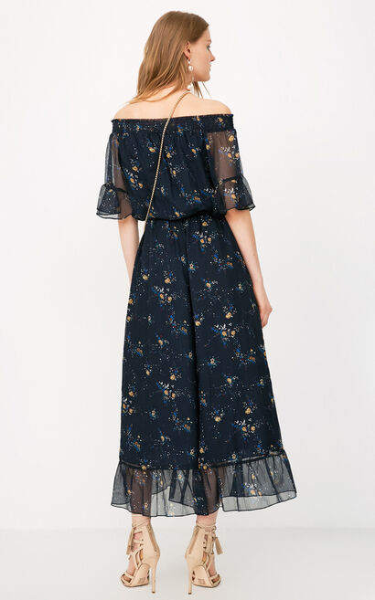ONLY2019 women's spring new off-shoulder floral chiffon jumpsuit | 118144502, Aqua, large