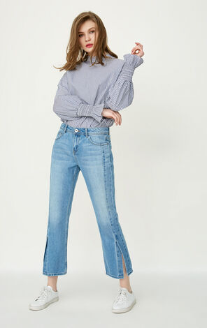ONLY Women's Summer 100% Cotton Slightly Flared Crop Jeans |117249549