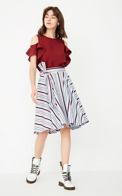 ONLY Summer Ruffled Lace-up Two-piece Dress |117307507, Chili Red, large