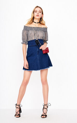 ONLY Summer Off-shoulder Denim Dress |118142513