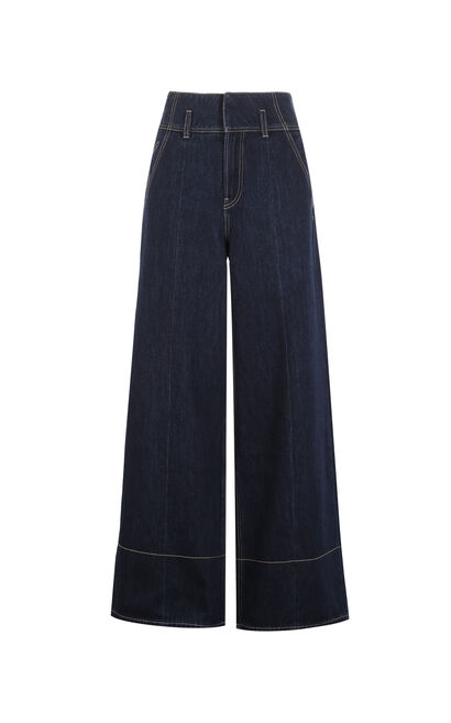 ONLY Women's Summer Contrasting High-rise Wide-leg Jeans |117332516, Blue, large