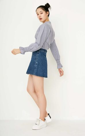 ONLY Women's Spring New Embroidered Letters A-line Denim Skirt|117237504
