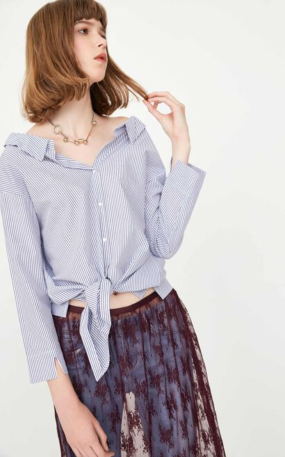 ONLY summer new style pure cotton big V-neck tie striped shirt women | 117331533, Blue, large