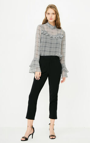 ONLY2019 women's summer new slit plaid cropped casual pants | 118150512