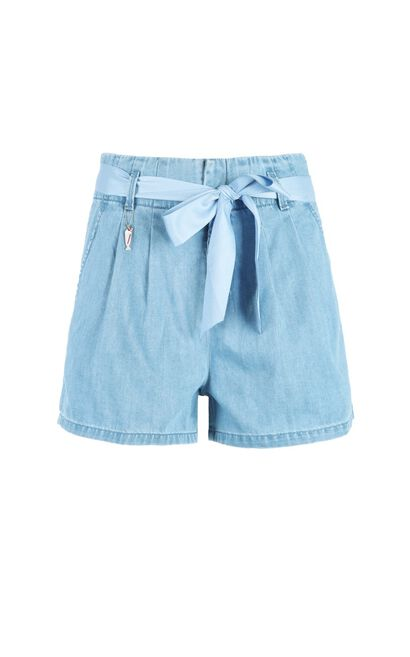 ONLY Summer New Women's Lace-up Metal Denim Shorts|117243534, Blue, large