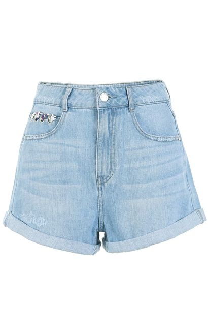 ONLY Women's Summer Loose Fit Straight Raw-edge Denim Shorts |117343521, Blue, large