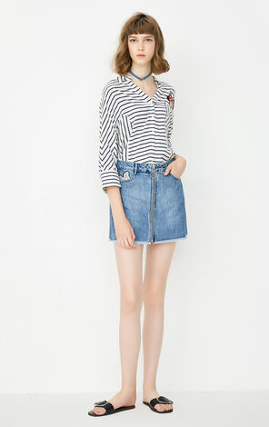 ONLY Summer Letter Patch Raw-edge Denim Skirt |117337520