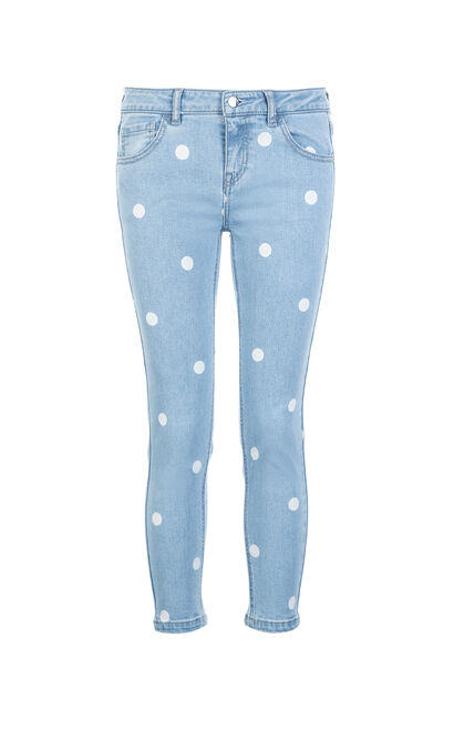 ONLY Women's Spring & Summer Polka Dots Stretch Skinny Crop Jeans |11816I527, Aqua, large
