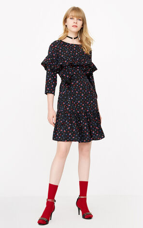 ONLY 2019 Ruffled Floral Lace-up Dress |118107542