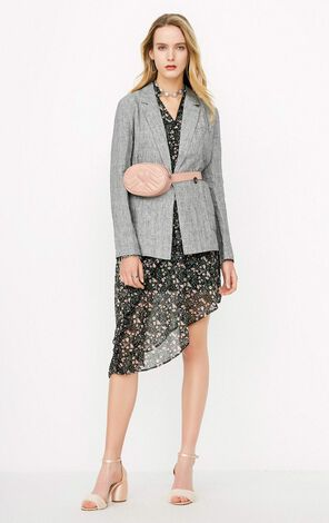ONLY Women's Spring Loose Fit Linen Plaid Suit Jacket |118108540