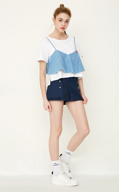 ONLY Women's Spring Badge Low-high Two-piece T-shirt |117270501, Blue, large