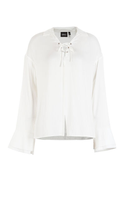 ONLY Women's Winter Lace-up V Neckline Long-sleeved Chiffon Shirt |117358520, White, large
