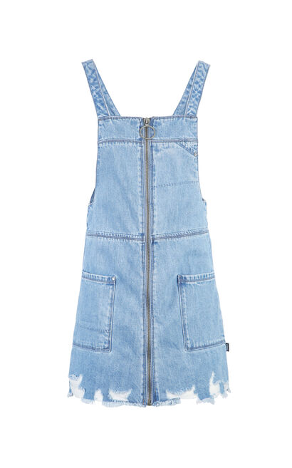 ONLY Women's Spring New Sleeveless Raw-edge Denim Slip Dress|117242529, Blue, large