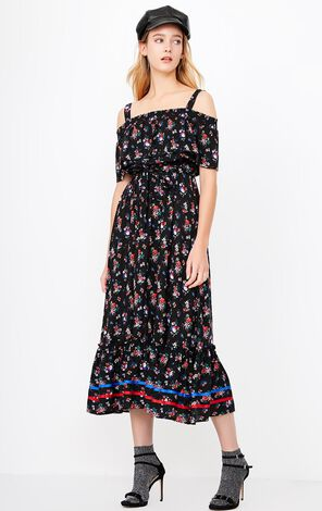 ONLY Summer Off-shoulder Floral Slip Dress |118107612