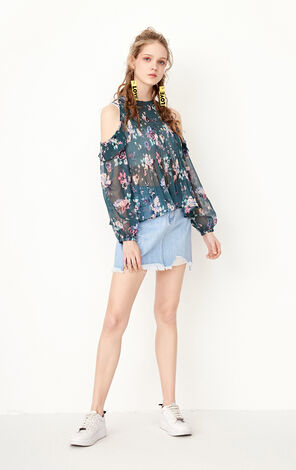 ONLY spring New Women's Pleated Ruffled Loose Fit Chiffon Shirt|117258518