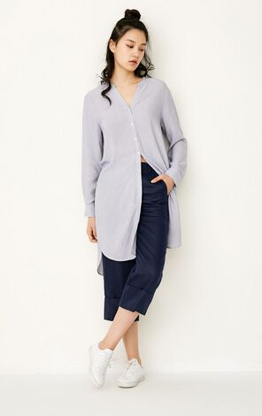 ONLY Spring Women's Loose Fit Striped Long-sleeved Shirt|117205503