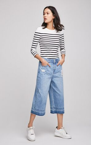 ONLY Women's Spring Loose Fit Wide-leg Ripped Crop Jeans  117149546