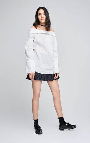 ONLY Women's Spring 100% Cotton Turn-down Collar Off-the-shoulder Shirt |117141501