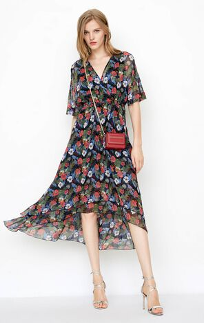 ONLY Summer V-neckline High-rise Floral Chiffon Dress|118207545