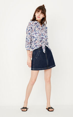 2019 ONLY women's summer new three-quarter sleeve floral tie-up loose shirt | 117331517