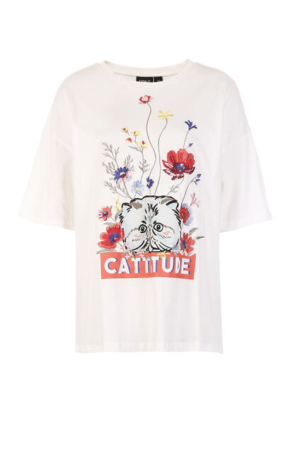 ONLY Women's 2019 Spring 100% Cotton Embroidery Print Loose Fit T-shirt |118101533, Cream, large