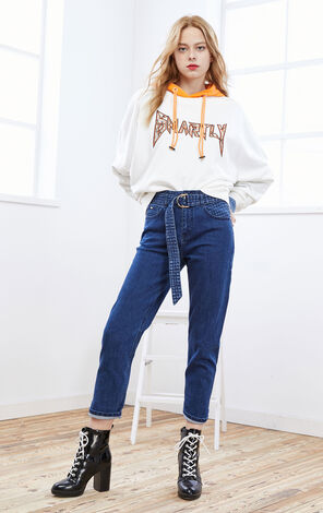 ONLY2019winterNew Women's High-rise Straight Fit Blue Crop Jeans|119449532