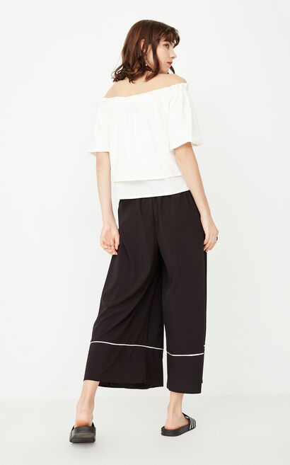 ONLY Spring New Women's Two-piece Boat Neck Wide-leg Pants|117244508, White, large