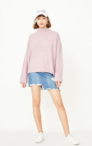 ONLY early autumn new product cuffed cuffs short front and long loose wool sweater women | 117325502