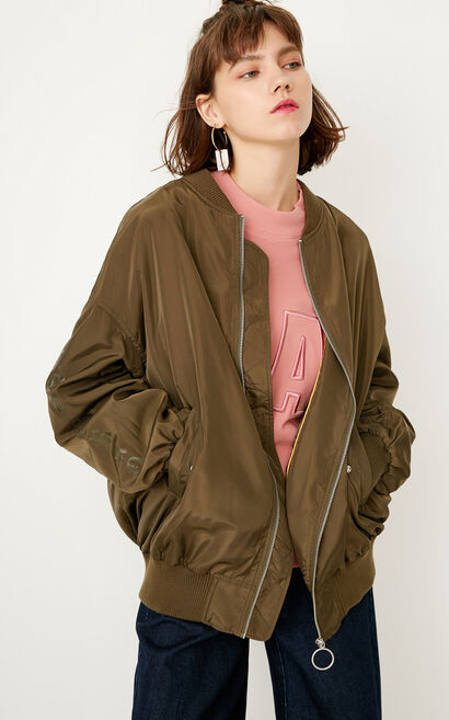 ONLY autumn new loose letter jacket short coat female | 117336548, Green, large