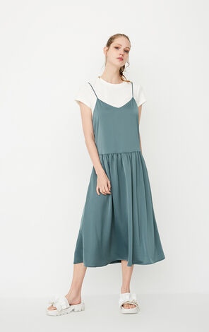 ONLY Summer Two-piece Gathered Slip Dress |117207549