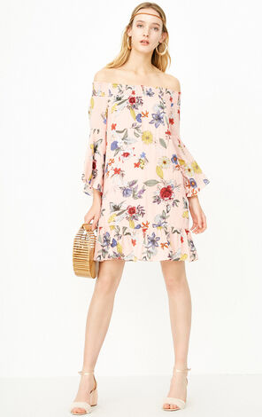 Only Off-the-shoulder Flare Sleeves Dress |118107610