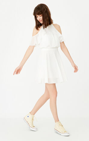 ONLY Summer Ruffled See-through Chiffon Dress |117307514