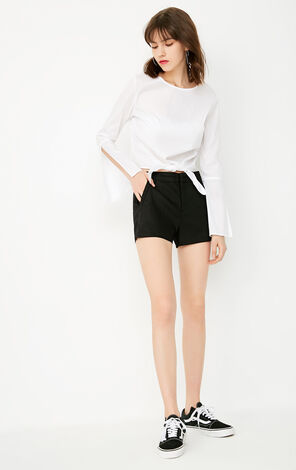 ONLY Women's Elasticized Black Casual Shorts |117315503