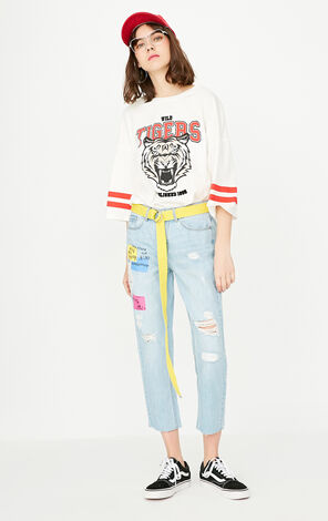 ONLY Spring New Women's Frayed Raw-edge Letter Print Crop Jeans|117249530